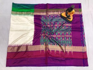Pochampally ikkat pure silk off white and green, purple color combination saree