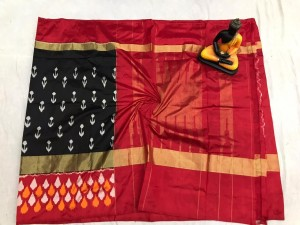 Pochampally ikkat pure Silk black and reddish pink color combination saree