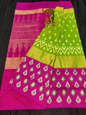 Pochampally ikkat Silk green and pink color combination saree