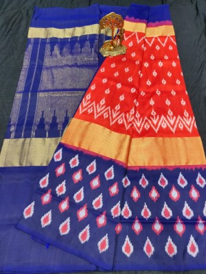 Pochampally ikkat pure silk red and royal blue color combination saree