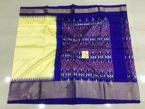 Pochampally ikkat pure silk yellow and royal blue color combination saree