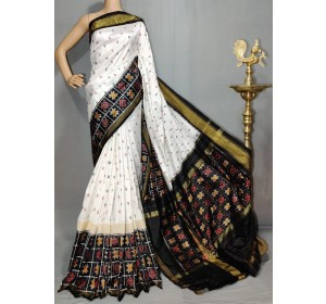 Pochampally ikat pure silk white and black color combination saree