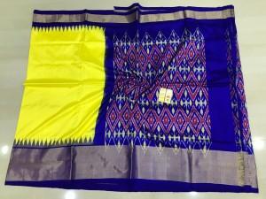 Pochampally ikkat silk yellow and royal blue color combination saree