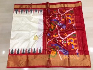 Pochampally ikkat pure silk half white and red color combination saree
