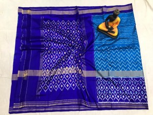 Pochampally ikkat pure silk blue and royal blue color combination saree