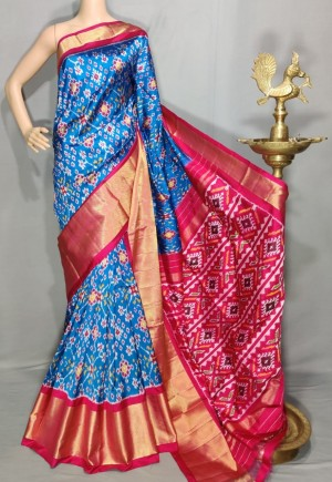 Pochampally ikat pure silk blue and pink color combination saree