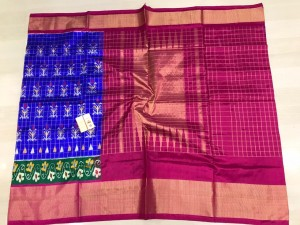 Pochampally ikkat silk royal blue and pink color combination saree with checks
