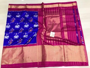 Pochampally ikkat pure silk royal blue and pink color combination saree