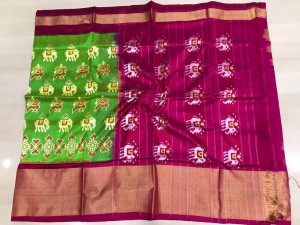 Pochampally ikkat pure silk green and pink color combination saree