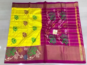 Pochampally ikkat pure silk yellow and pink color combination saree
