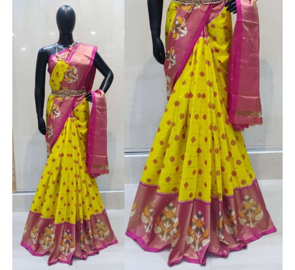 Pochampally ikkat Silk yellow and pink color combination saree with checks