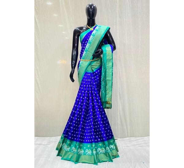 Pochampally ikkat pure Silk royal Blue and green colour combination saree