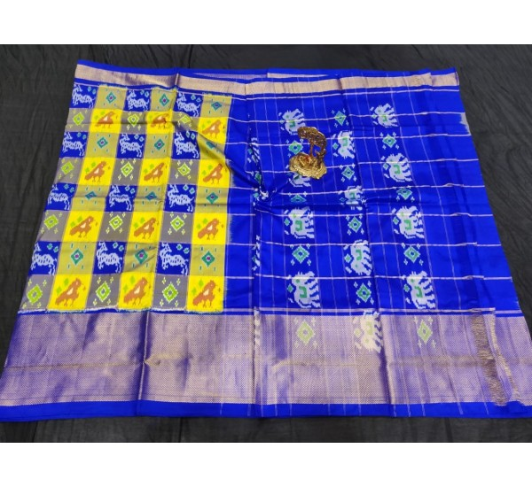 Pochampally ikkat Silk yellow and royal blue color combination saree with checks